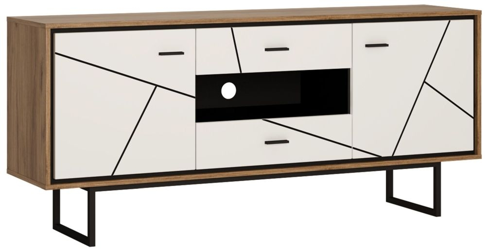 Brolo TV Unit - Dark Walnut and High Gloss White