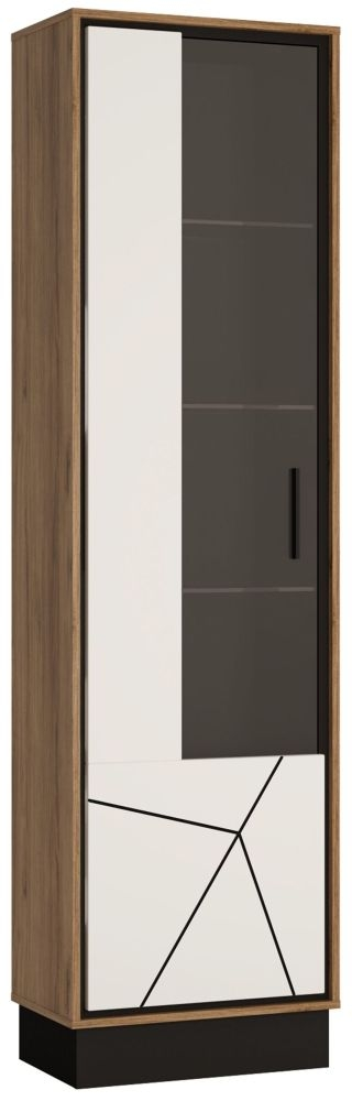 Brolo Glazed Left Hand Facing Display Cabinet - Dark Walnut and High Gloss White