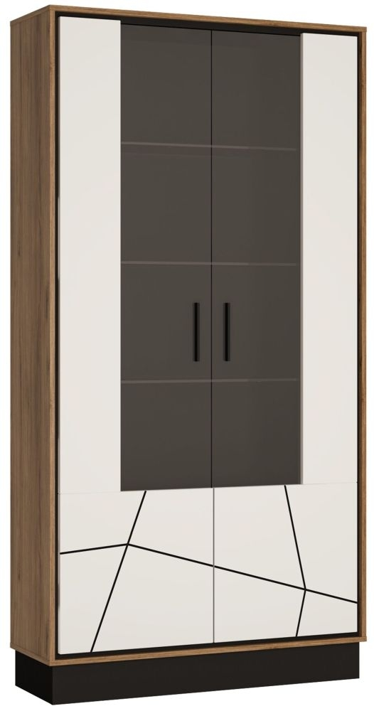 Brolo Tall Wide Glazed Display Cabinet - Dark Walnut and High Gloss White