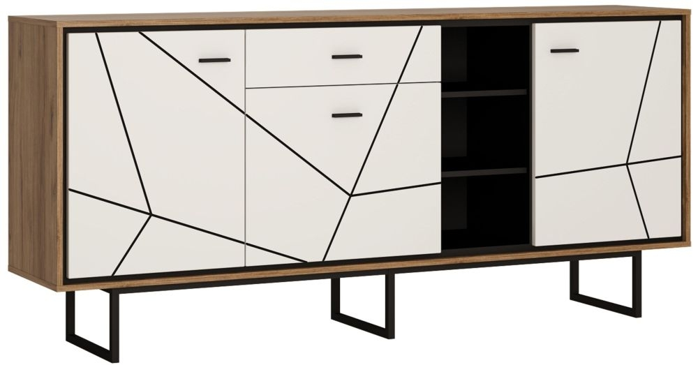 Brolo Wide Sideboard - Dark Walnut and High Gloss White