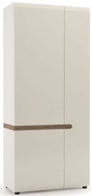 Chelsea 2 Door Wardrobe - Truffle Oak and High Gloss White