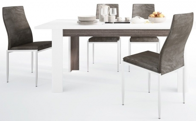 Chelsea Extending Dining Table and 4 Milan Dark Brown Chairs - Truffle Oak and High Gloss White