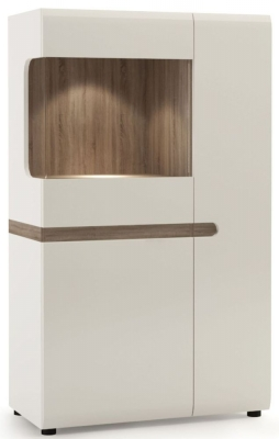 Chelsea Low Display Cabinet - Truffle Oak and High Gloss White