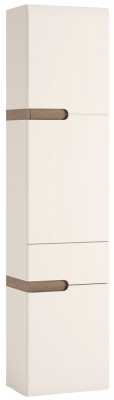 Chelsea Right Hand Tall Wall Cabinet - Truffle Oak and High Gloss White