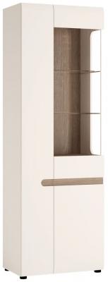Chelsea Tall Narrow Left Hand Facing Glazed Display Unit - Truffle Oak and High Gloss White