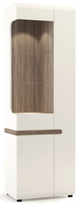 Chelsea Tall Narrow Right Hand Facing Glazed Display Unit - Truffle Oak and High Gloss White