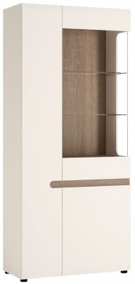 Chelsea Tall Wide Left Hand Facing Glazed Display Unit - Truffle Oak and High Gloss White