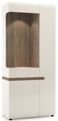 Chelsea Tall Wide Right Hand Facing Glazed Display Unit - Truffle Oak and High Gloss White