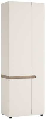 Chelsea White Gloss Cupboard with Truffle Oak Trim - Tall 3 Door