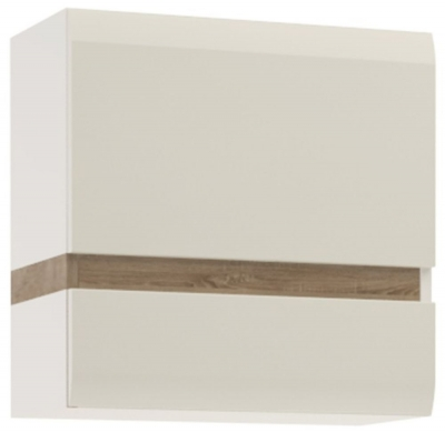 Chelsea White High Gloss 1 Door Wall Cupboard with Truffle Oak Front Trim
