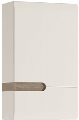 Chelsea White High Gloss 1 Right Hand Door Wall Cupboard with Truffle Oak Trim