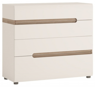 Buy Chelsea White High Gloss Dressing Table With Truffle Oak Trim Online CF