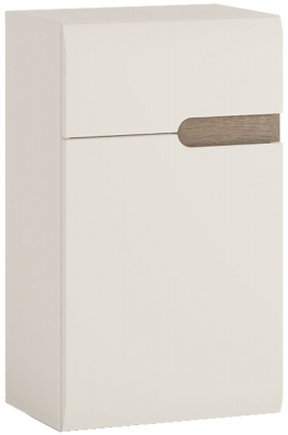 Chelsea White High Gloss Cupboard with Truffle Oak Trim - 1 Left Hand Door 1 Drawer