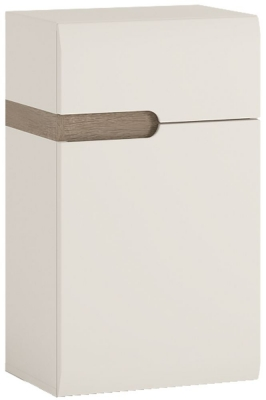 Chelsea White High Gloss Cupboard with Truffle Oak Trim - 1 Right Hand Door 1 Drawer