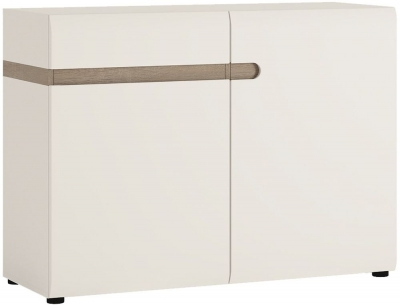 Chelsea White High Gloss Sideboard with Truffle Oak Trim - 2 Door 1 Drawer