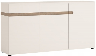 Chelsea White High Gloss Sideboard with Truffle Oak Trim - 3 Door 2 Drawer