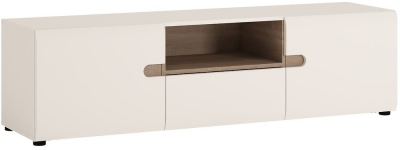 Chelsea White High Gloss TV Unit with Truffle Oak Trim - Wide