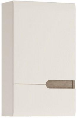 Chelsea White High Gloss Wall Cupboard with Truffle Oak Trim - 1 Left Hand Door