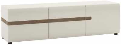 Chelsea White High Gloss Wall Cupboard with Truffle Oak Trim - 3 Door
