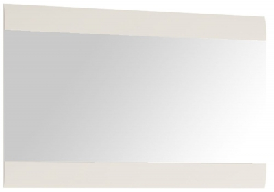 Chelsea White High Gloss Wall Mirror with Truffle Oak Trim - Wide