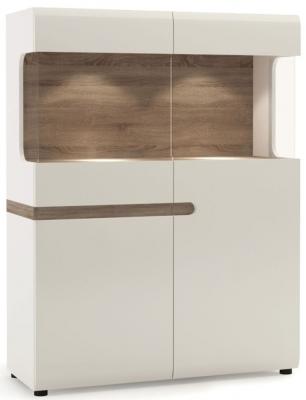 Chelsea Wide Display Cabinet - Truffle Oak and High Gloss White