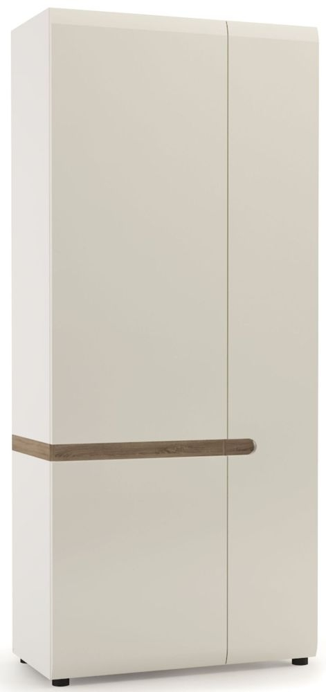 Chelsea 2 Door Wardrobe - Truffle Oak and High Gloss White