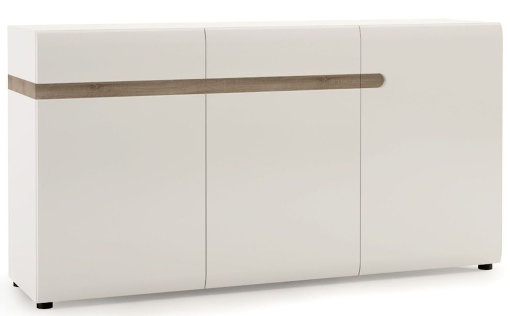 Chelsea 3 Door Combi Sideboard - Truffle Oak and High Gloss White