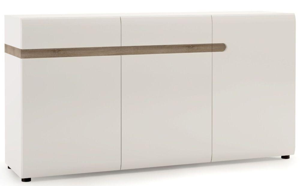 Chelsea 3 Door Combi Sideboard - Truffle Oak and High Gloss White