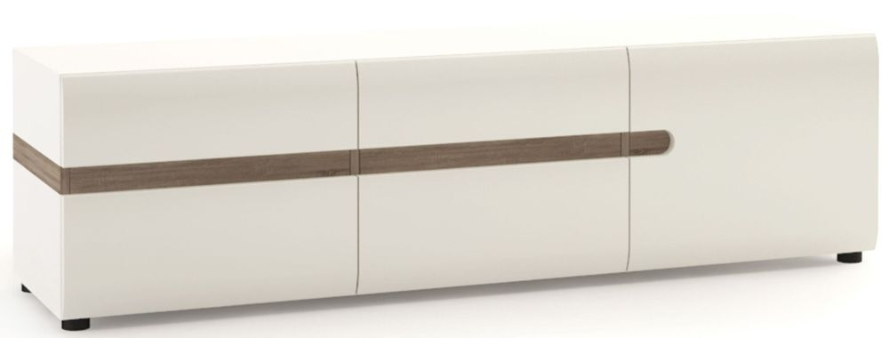 Chelsea 3 Door Wide TV Unit - Truffle Oak and High Gloss White
