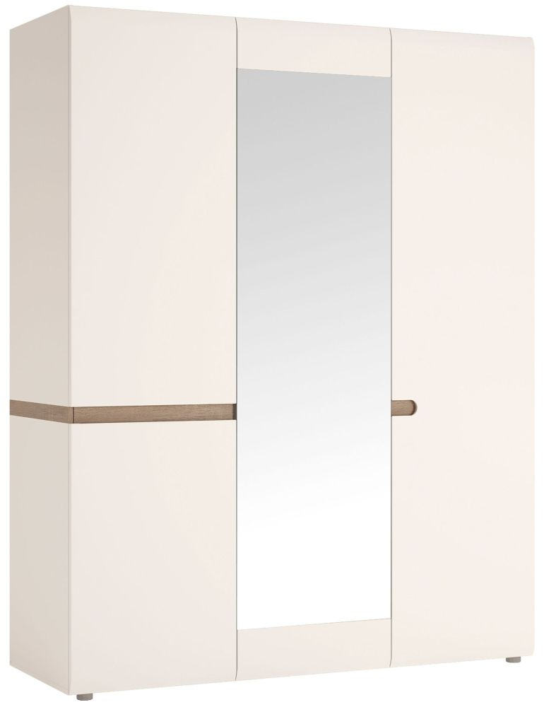 Chelsea 3 Door with Mirror Wardrobe - Truffle Oak and High Gloss White