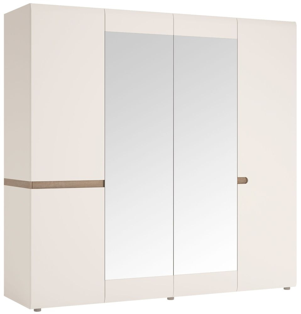 Chelsea 4 Door with Mirror Wardrobe - Truffle Oak and High Gloss White