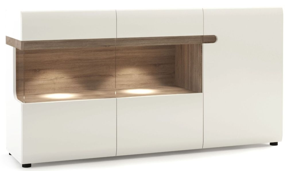 Chelsea Glazed Sideboard - Truffle Oak and High Gloss White