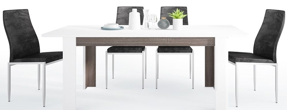 Chelsea Extending Dining Table and 4 Milan Black Chairs - Truffle Oak and High Gloss White