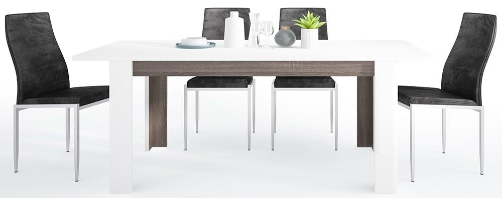 Chelsea Extending Dining Table and 6 Milan Black Chairs - Truffle Oak and High Gloss White