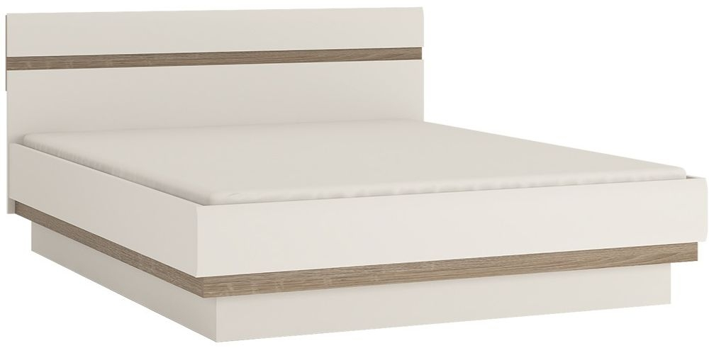 Chelsea White High Gloss Bed with Oak Trim and Lift Up Function