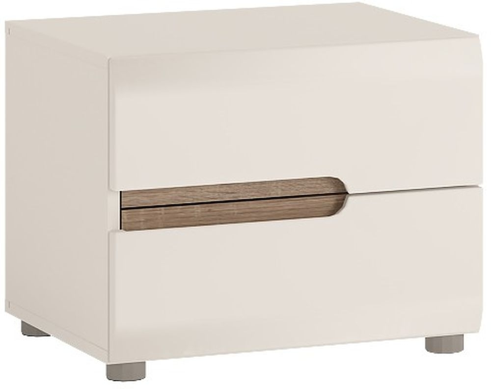 Chelsea White High Gloss Bedside Cabinet with Truffle Oak Trim