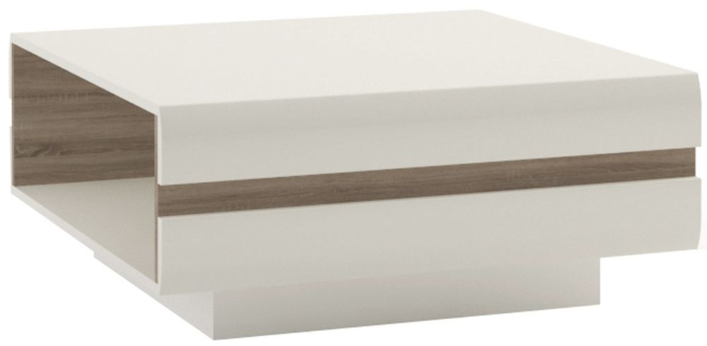 Chelsea White High Gloss Designer Coffee Table with Truffle Oak Trim