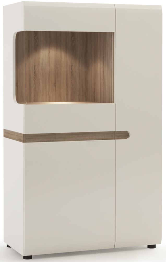 Chelsea White High Gloss Display Cabinet with Truffle Oak Trim - Low