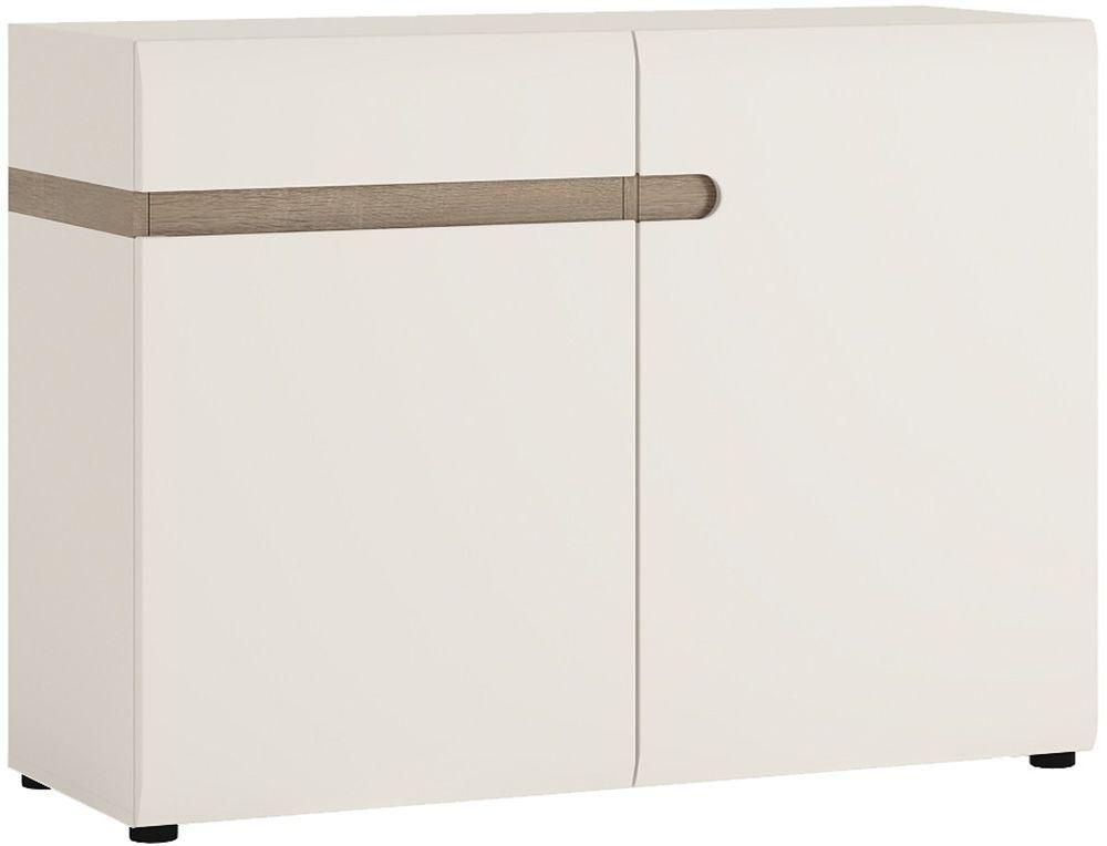 Chelsea White High Gloss Sideboard with Truffle Oak Trim - 2 Door 1 Drawer
