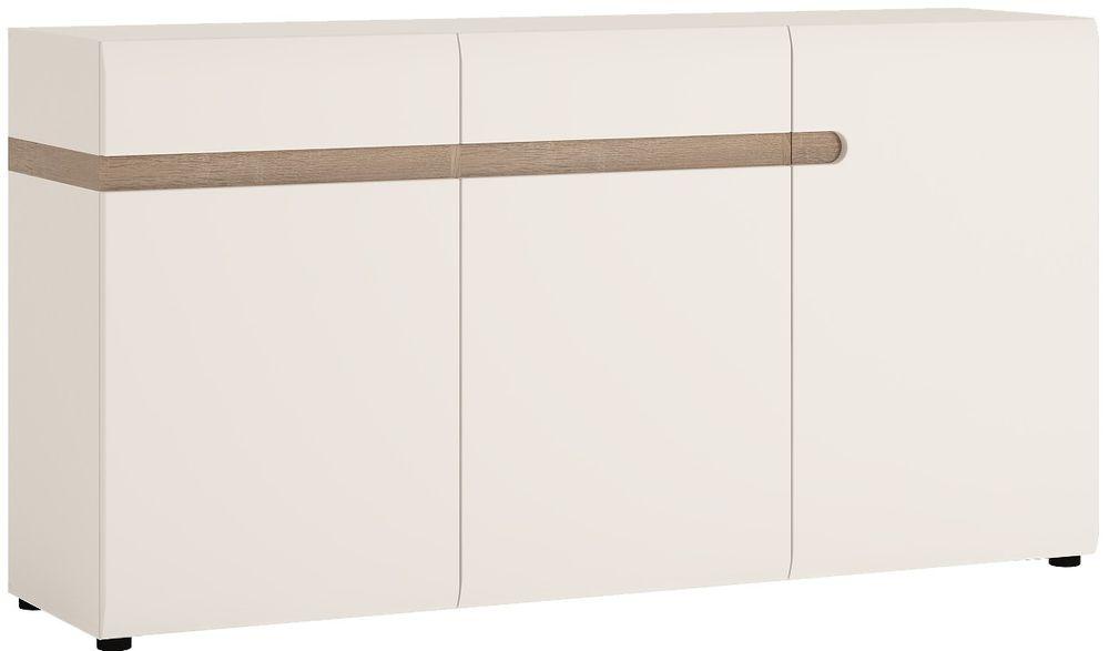 Chelsea 3 Door Combi Sideboard - White High Gloss with Truffle Oak Trim