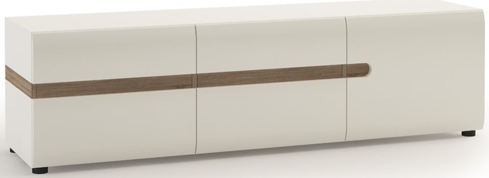 Chelsea White High Gloss TV Unit with Truffle Oak Trim - Wide 3 Door