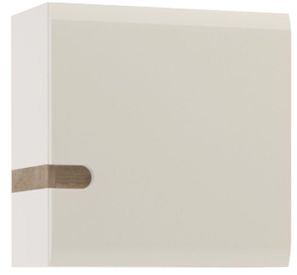 Chelsea White High Gloss Wall Cupboard with Truffle Oak Trim - 1 Door