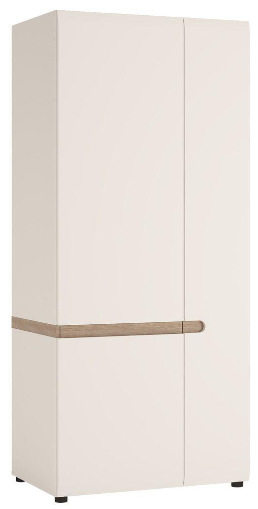 Chelsea White High Gloss Wardrobe with Truffle Oak Trim - 2 Door