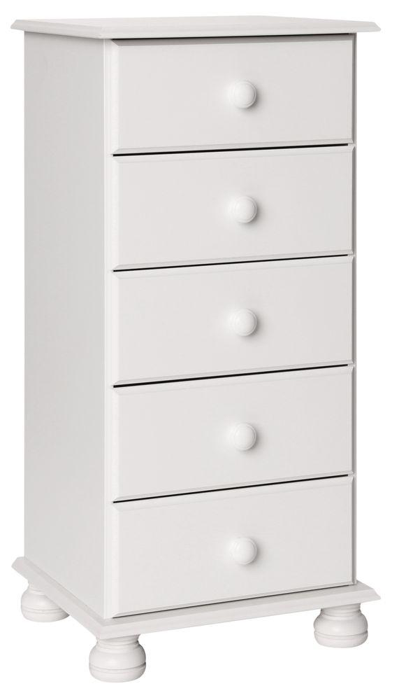 Copenhagen White Chest of Drawers - 5 Narrow Drawer