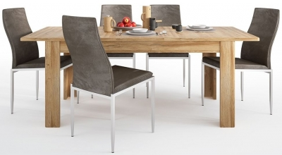 Cortina Grandson Oak Extending Dining Table and 6 Milan Dark Brown Chairs