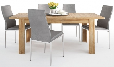 Cortina Grandson Oak Extending Dining Table and 6 Milan Grey Chairs
