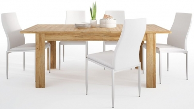 Cortina Grandson Oak Extending Dining Table and 6 Milan White Chairs