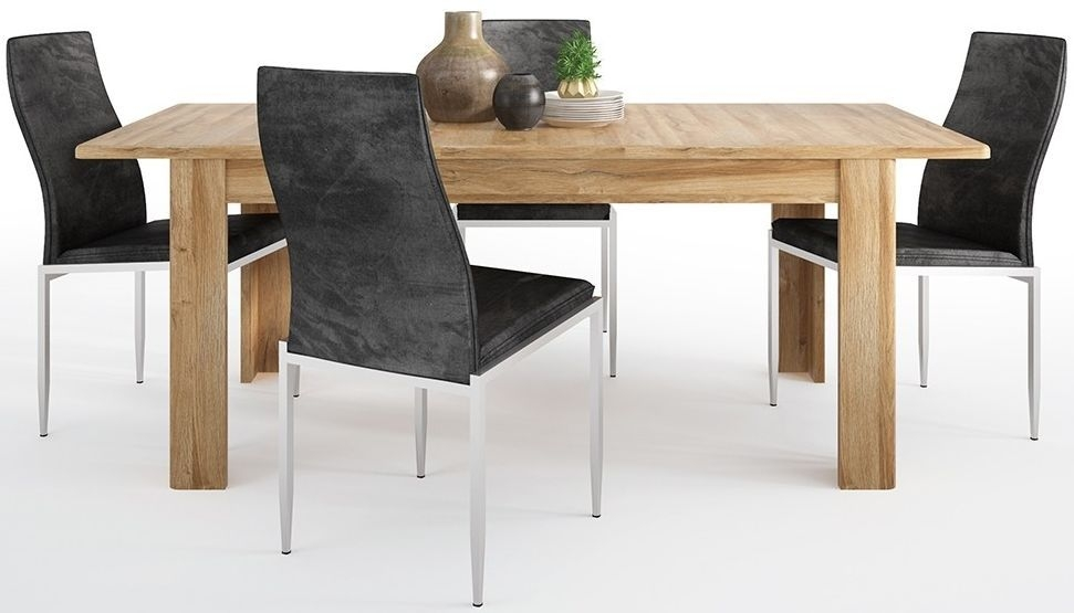 Cortina Grandson Oak Extending Dining Table and 4 Milan Black Chairs
