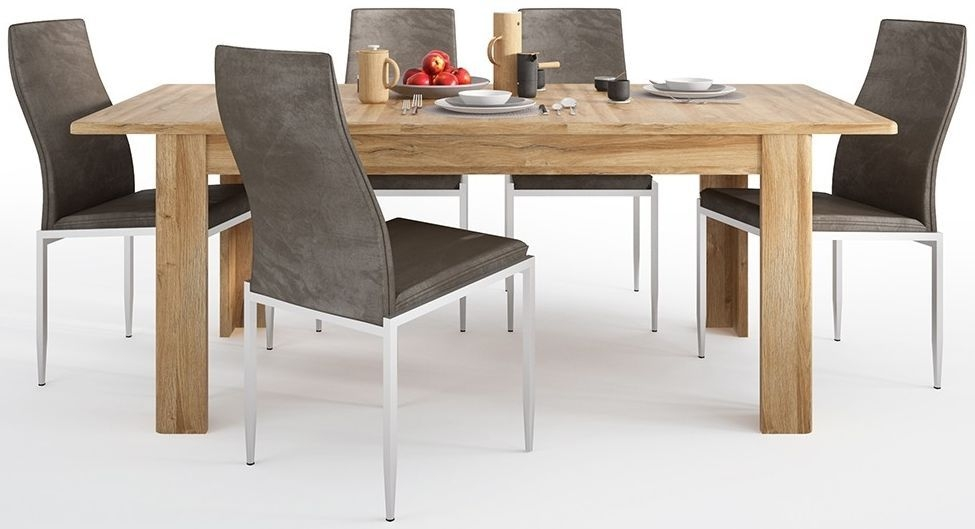 Cortina Grandson Oak Extending Dining Table and 4 Milan Dark Brown Chairs