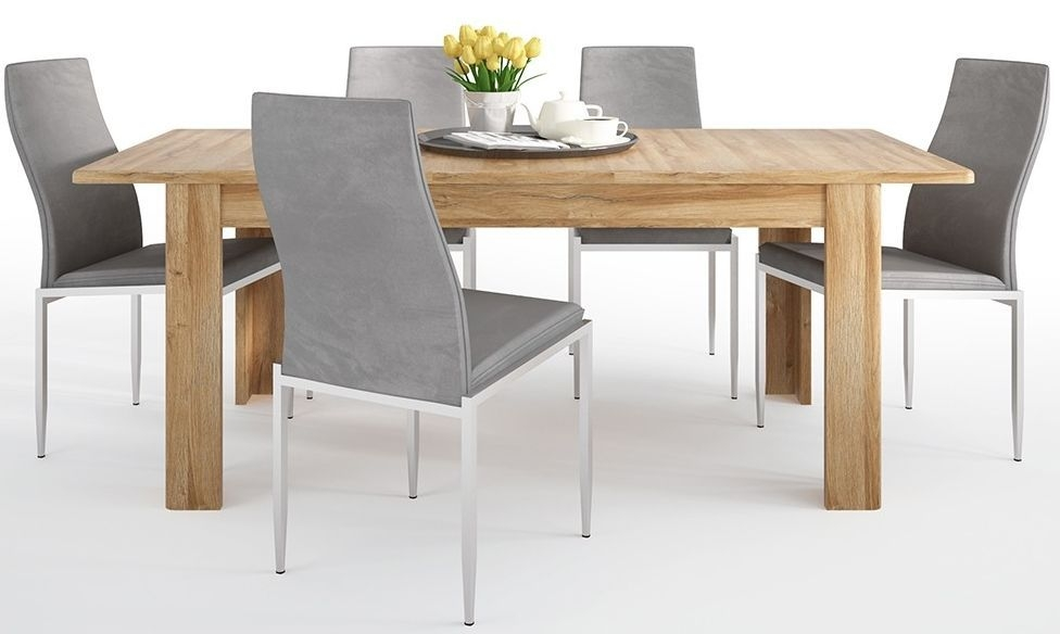 Cortina Grandson Oak Extending Dining Table and 4 Milan Grey Chairs